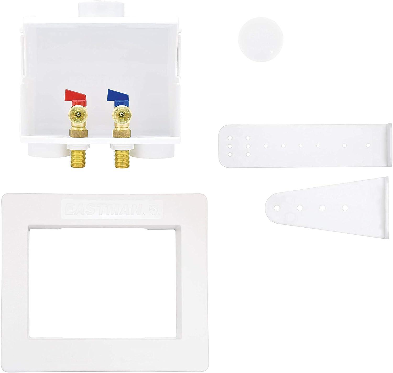 "Eastman 60243 Sweat Dual Washing Machine Outlet Box, 1/2"", White"