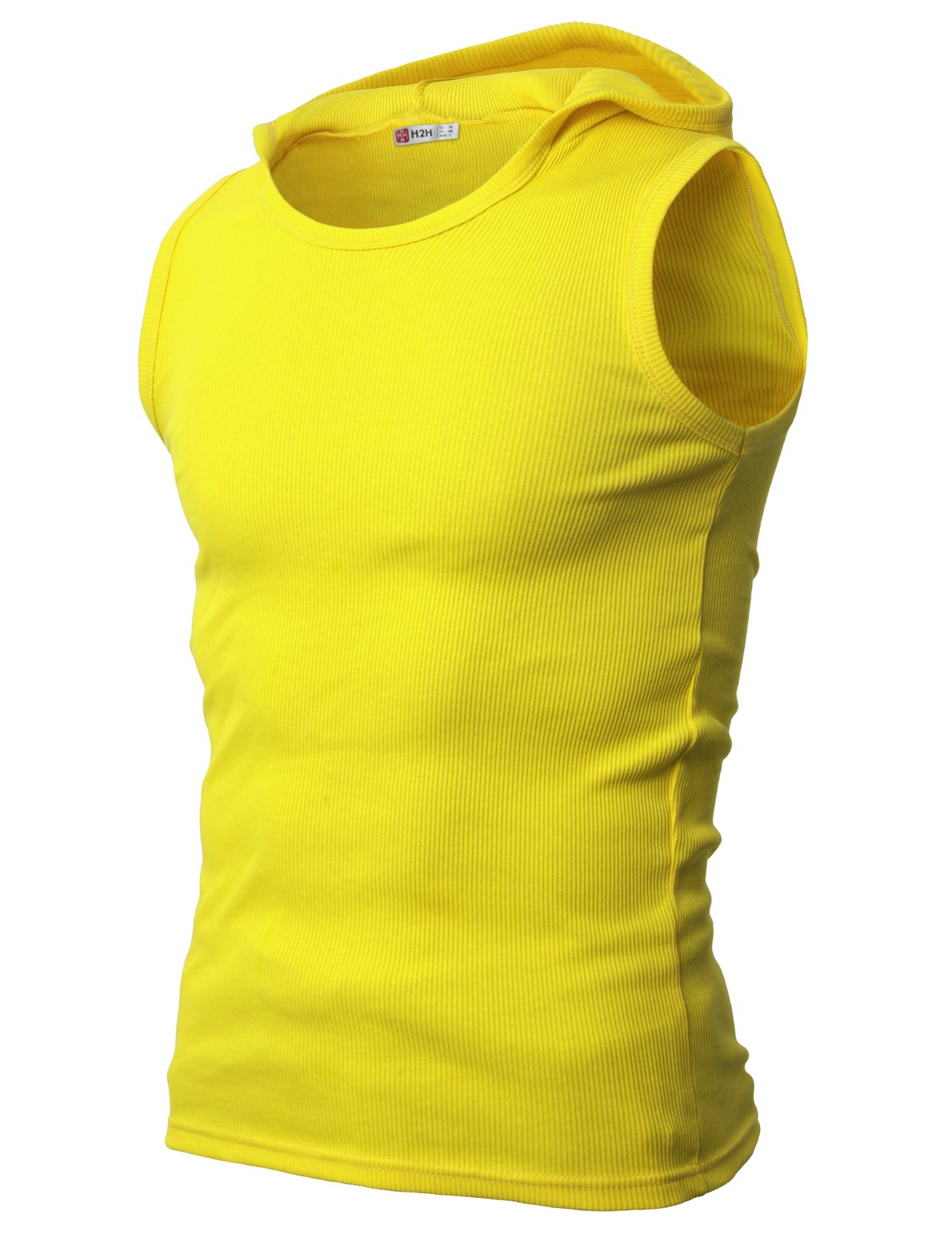 H2H Mens Active Wear Hooded Sleeveless T-Shirts Yellow US S/Asia M (JPSK05)