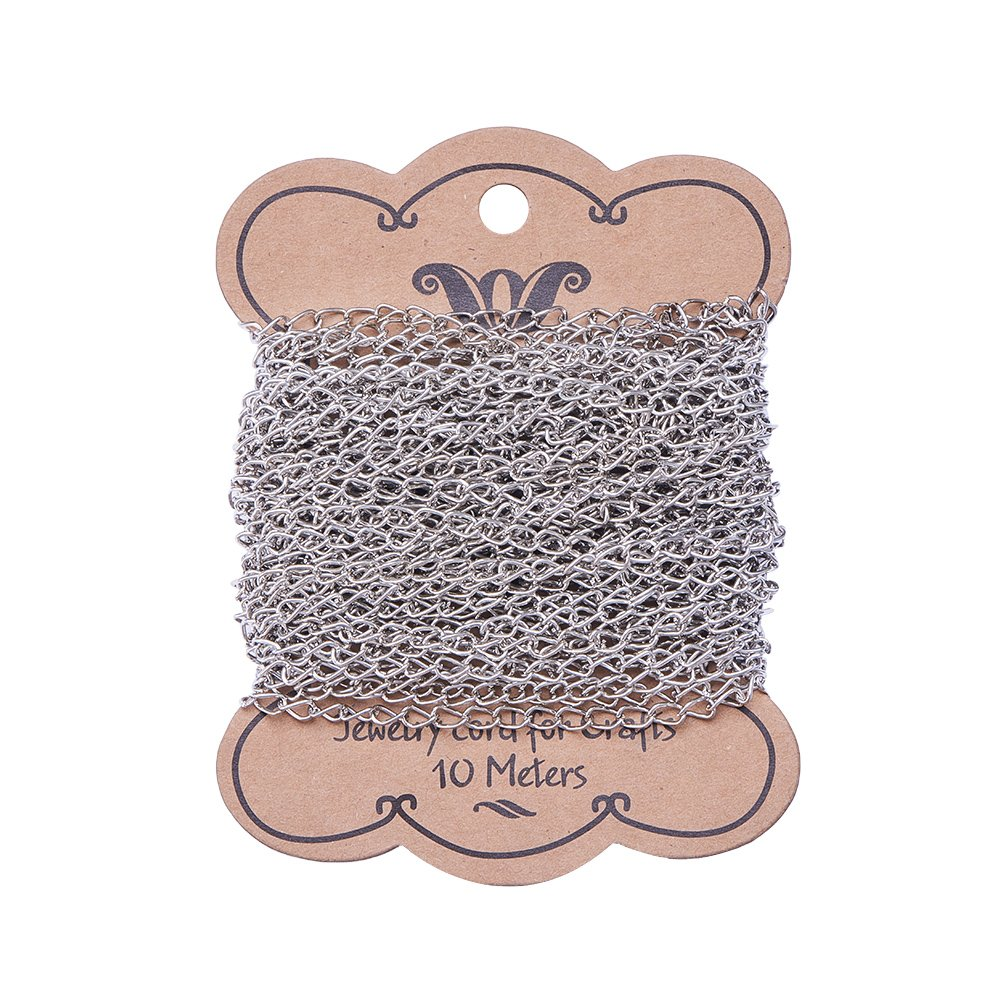 PandaHall 10m Iron Twist Chains for DIY Craft Bracelet Necklace Making, Platinum
