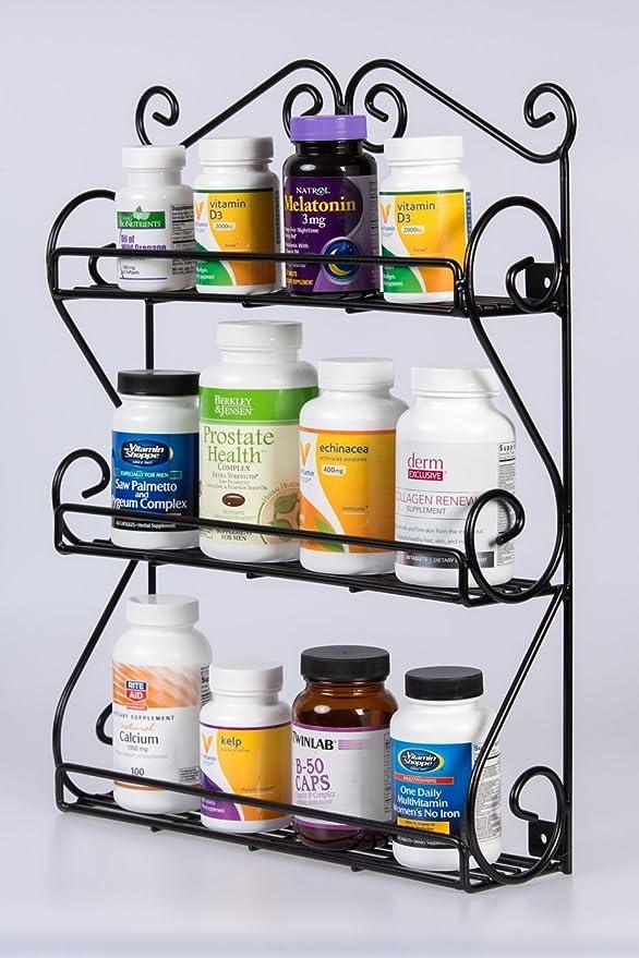 Unum Deluxe Wall-Mount - Especiero, 3 estantes Organizador para vitaminas, esmalte de uñas, Craft Supplies rack de desplazamiento, de metal negro mano ...