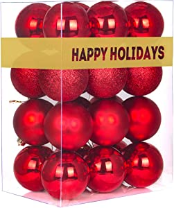 "GameXcel 24Pcs Christmas Balls Ornaments for Xmas Tree - Shatterproof Christmas Tree Decorations Large Hanging Ball Red 3.2"" x 24 Pack"