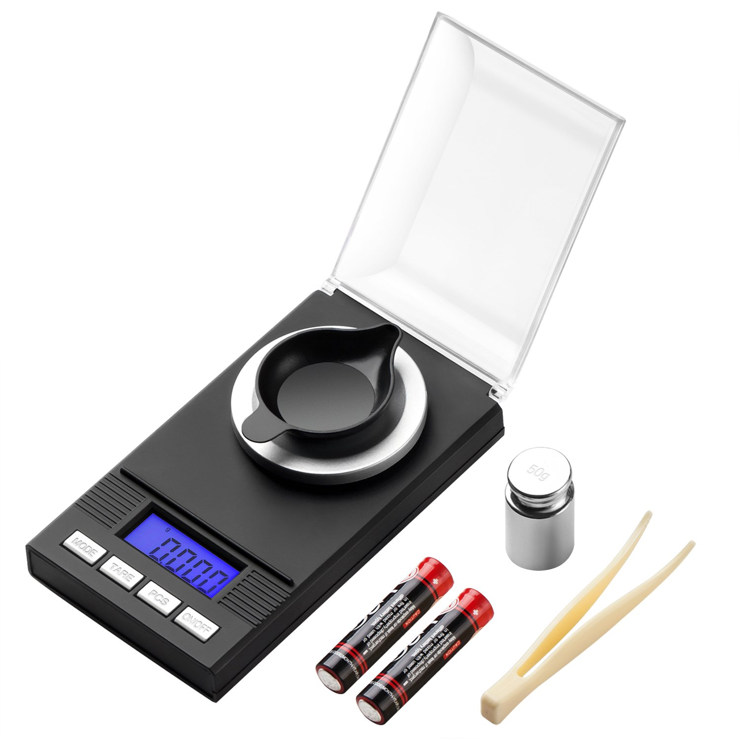 KEEGH High-Precision Digital Milligram Pocket Scale 50g / 0.001g Reloading, Jewelry Scale,Tare & PCS, LCD Display with Calibration Weights and 2 AAA Batteries