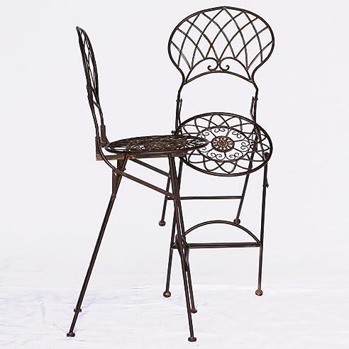 Bar Möbel Outdoor Metall Barstühle Gartenmöbel 2er Set Braun 2 Hohe Bar  Stühle