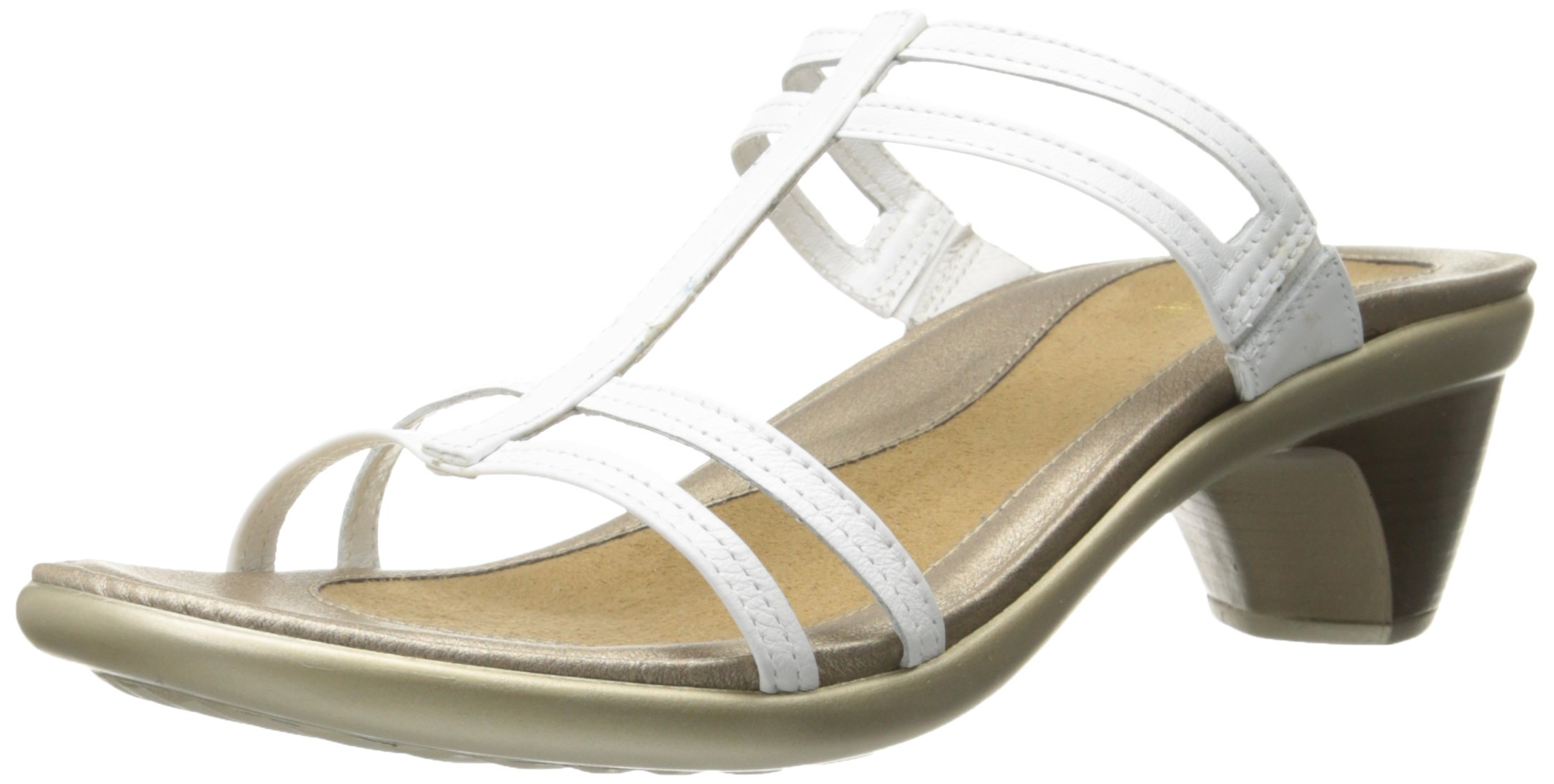 Naot Women's Loop Wedge Sandal, White Leather, 38 EU/6.5-7 M US