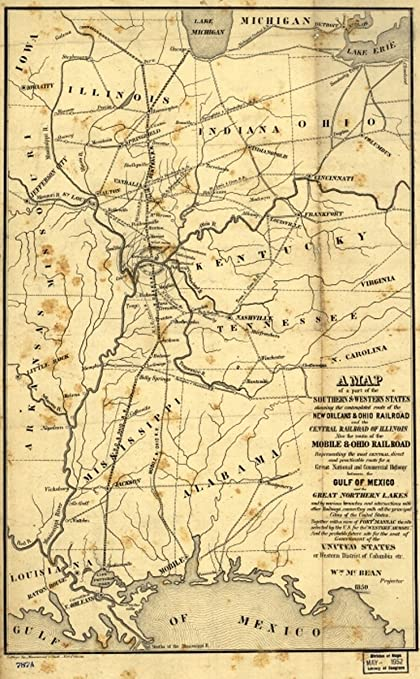 Mexico Map 1850.Amazon Com 1850 Railroad Map New Orleans And Ohio Railroad A Of A