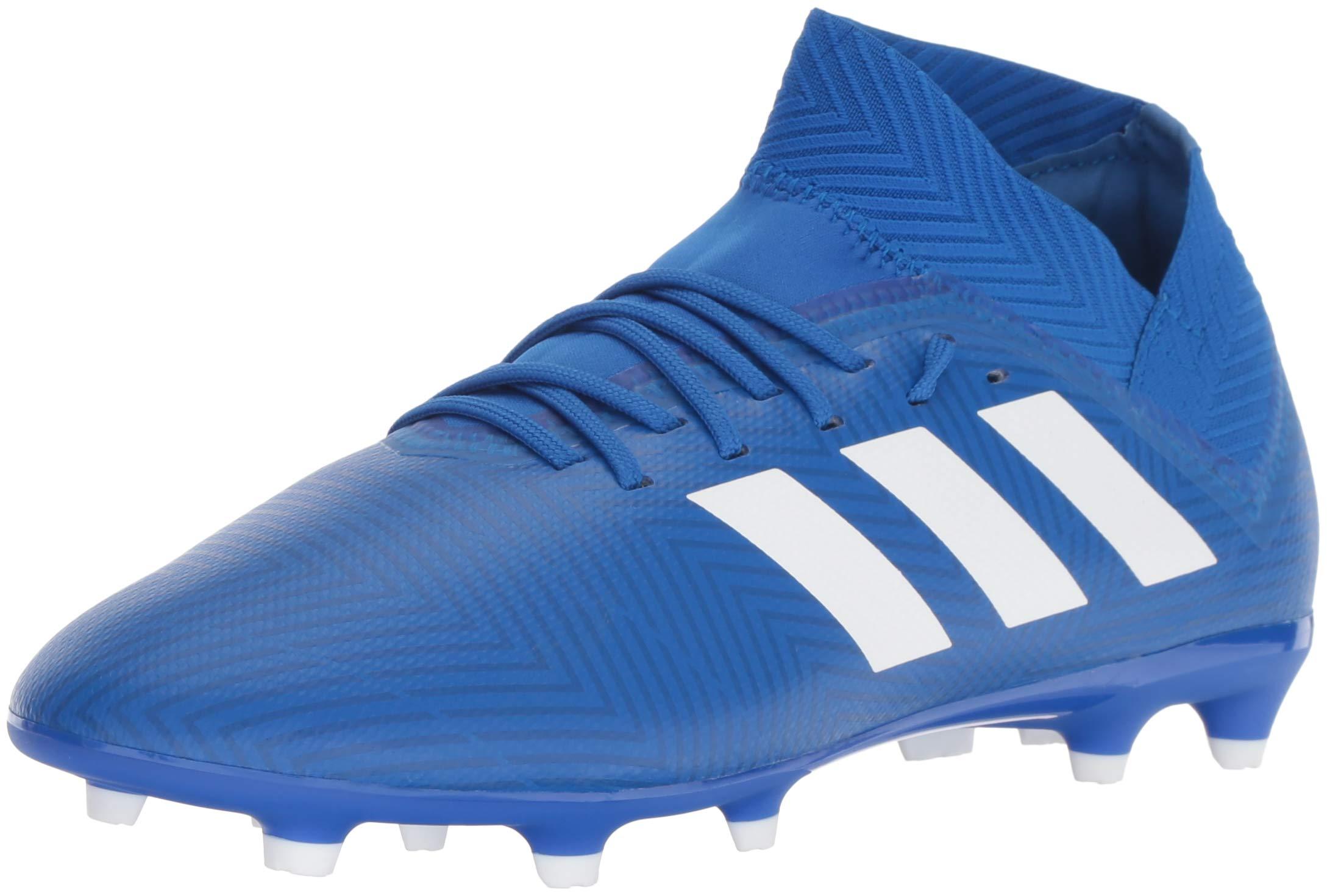 adidas Unisex Nemeziz 18.3 Firm Ground Soccer Shoe, White/Football Blue, 3.5 M US Big Kid
