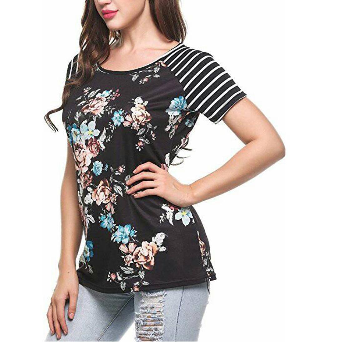 LILICAT® Camisetas Verano de mujer, 2018 Camiseta de moda Talla grande Flor estampada Manga corta con cuello redondo Blusas básicas Camiseta Desigual Blusa: ...