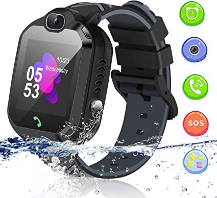 Kids Smart Watch, Smartwatch for Kids with Voice Chat Camera SOS Alarm Clock Games, Kids Waterproof Smart Watch 1.44 inch LBS Tracker Touch Screen ...