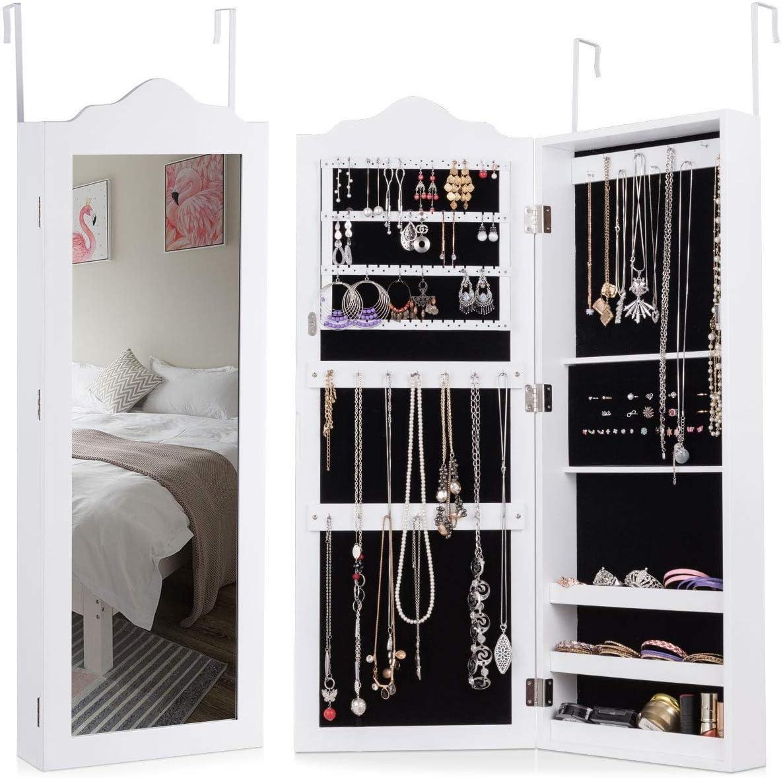 WATERJOY Wall Door Mounted Mirrored Jewelry Cabinet, Lockable Jewelry  Armoire Storage Organizer White (Door Hanger Included)