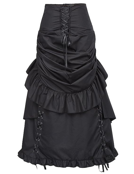 Victorian Skirts | Bustle, Walking, Edwardian Skirts Belle Poque Women Steampunk Gothic Bustle Skirt Victorian Costume $45.99 AT vintagedancer.com
