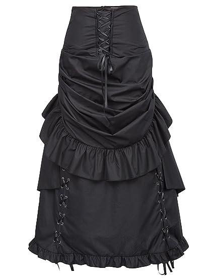 Belle Poque Falda Asimétrica de Mujer Gótica Steampunk Falda Larga Negra Talla S BP405-1: Amazon.es: Ropa y accesorios