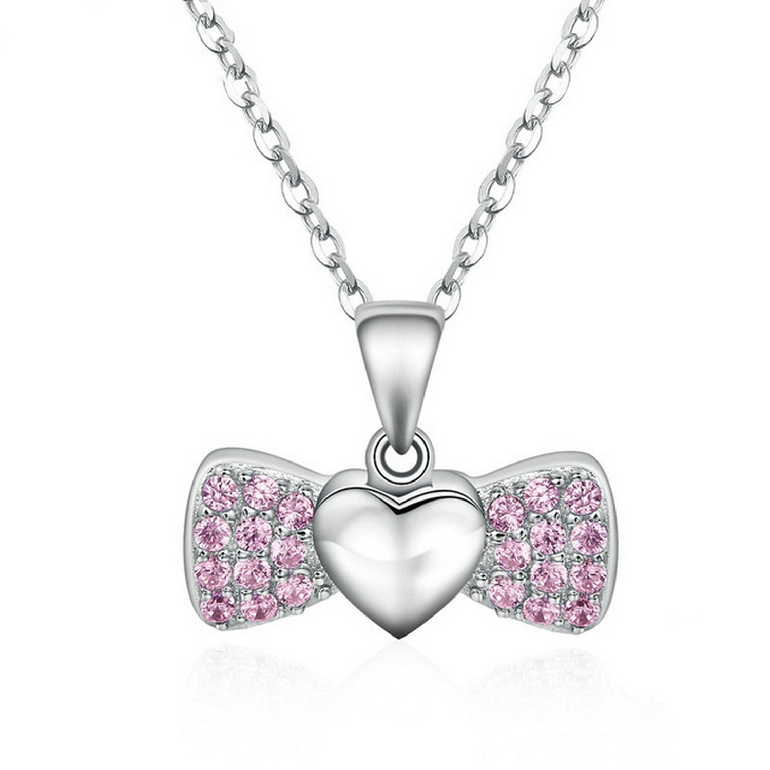 CS-DB Jewelry Silver Pink Bowknot Love Heart Chain Charm Pendants Necklaces