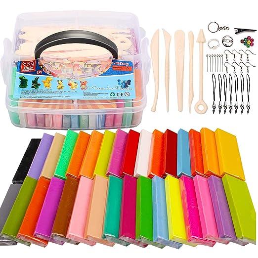QMAY Arcilla polímero, 32 Colores Modelado de Arcilla Horno de ...