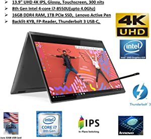 "2020 Newest Lenovo Premium Yoga C930 2 in 1 Laptop: 13.9"" 4K UHD IPS Touchscreen, Intel 4-Core i7, 16GB RAM, 1TB SSD, Thunderbolt3, FP-Reader, Dolby Audio, Active Pen, Win10, June 32GB GBA Card"