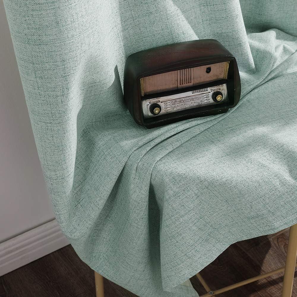 MIULEE Tende Morbide Oscuranti Isolanti Termiche in Lino con Occhielli 2 Pannelli per Soggiorno e Camera da Letto 140x175CM Blu Chiaro