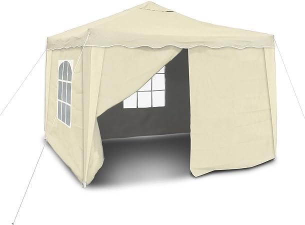 JOM JOM Tonnelle rectangulaire Pliante 3 x 3 m, Beige, Matière de la Toile Oxford 420D Enduit PVC coté intérieur, Hydrophobe