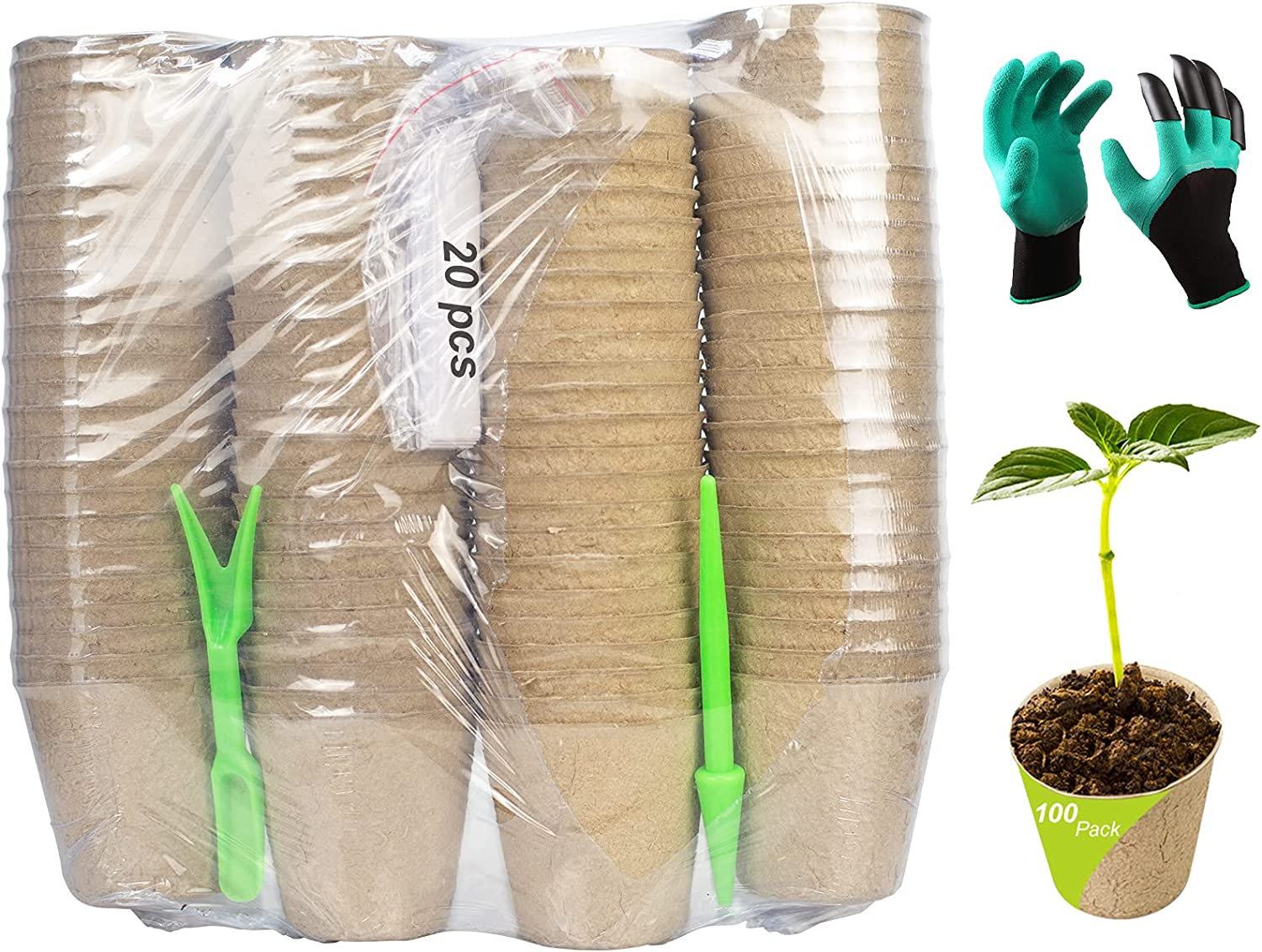 ARLBA 100 Pack 3 Inch Seed Starter Tray Peat Pots,Plant Starters for Vegetables/Flower Seedling,Biodegradable Herb Seed Starter Pots Kits,Garden Germination Nursery Pot W/20 Markers,Gloves & Tool kits