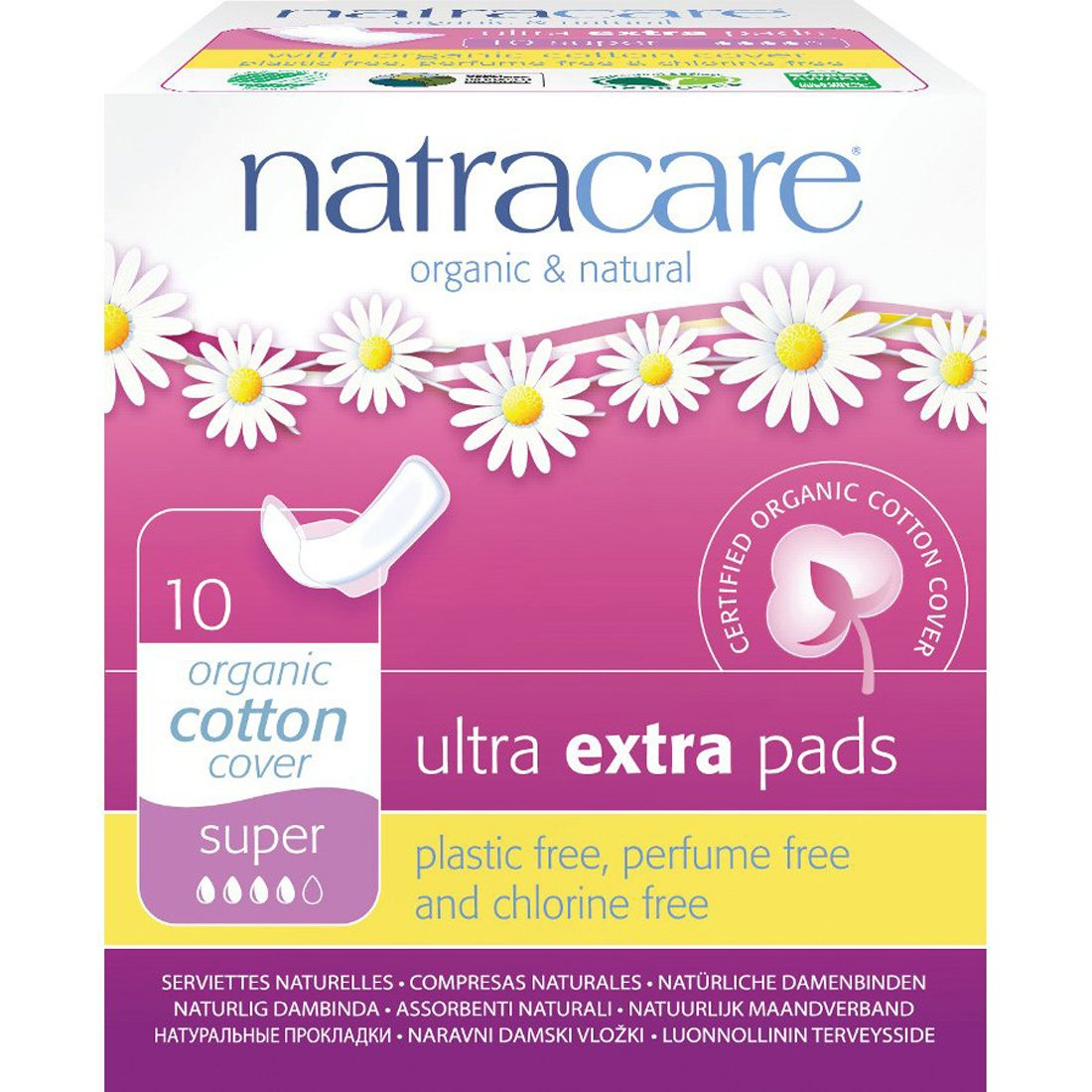 Natracare Ultra Extra Pads Super with Wings - 12 Packs of 10 Pads
