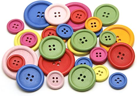Packs of 8 buttons Square Pink Green Floral Patterned Wooden Buttons