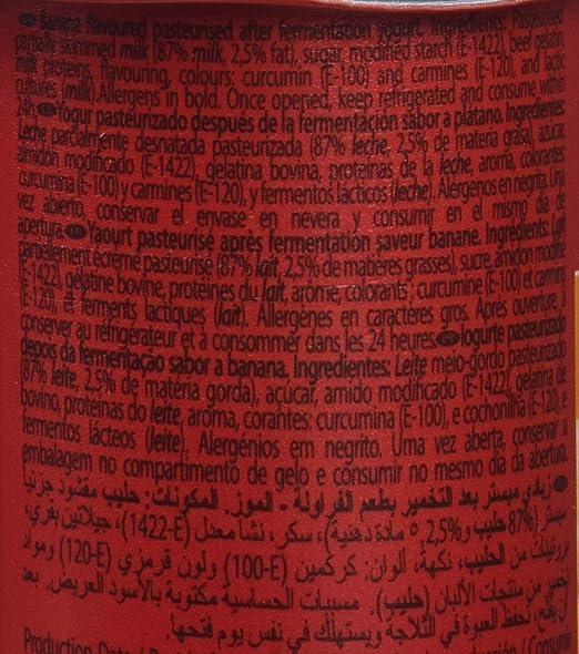 Pascual Yogur Sabor Plátano - Paquete de 4 x 125 gr - Total: 500 ...