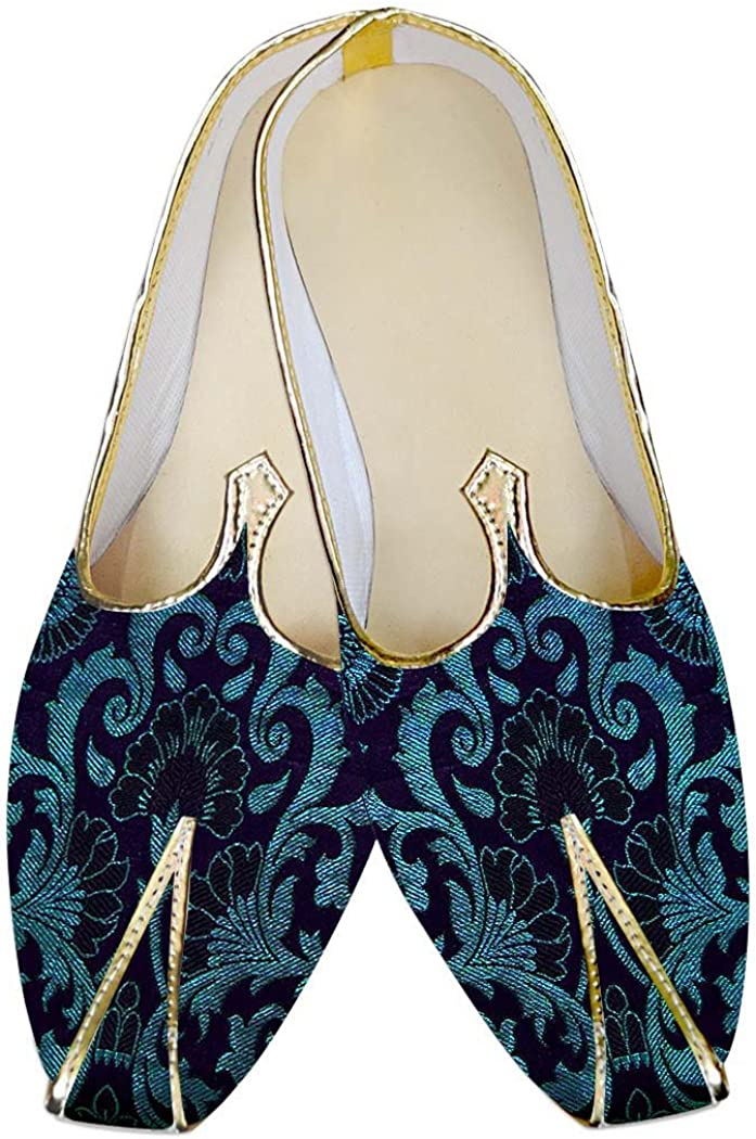 INMONARCH Traditional/Shoes for Men Navy Blue and Cyan Wedding Shoes MJ017052