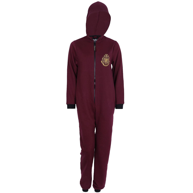 Harry Potter -:- Hogwarts Burgundy, Hooded, All in One Piece Pyjama, Onesie For Men