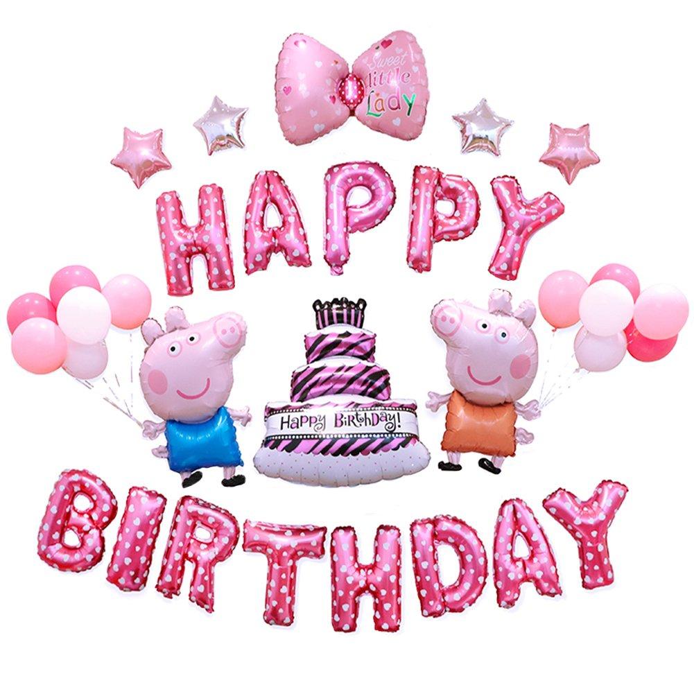Amazon.com: Girls Birthday Party Balloons Bowknot Birthday Cakes ...