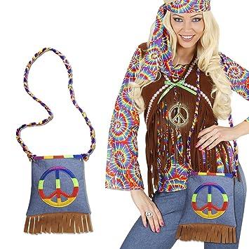 Disfraz hippie paz funda 70er años flecos de flores funda bolsa 60er Retro para Mujer Fiesta temática años de tela para mujer accesorios de disfraces ...