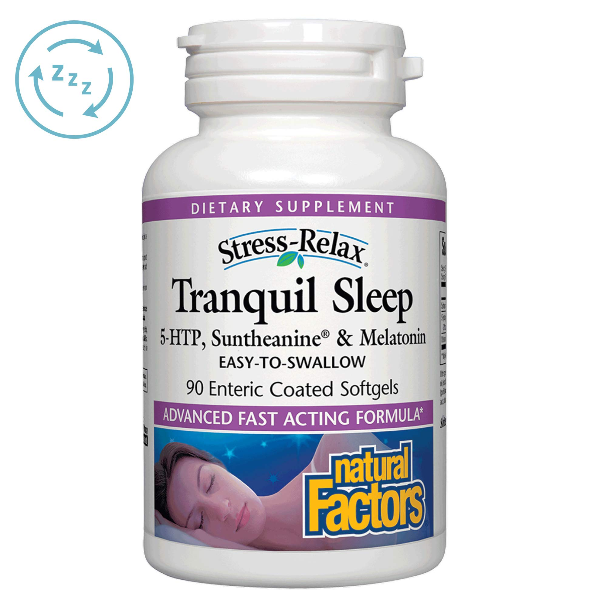 Stress-Relax Tranquil Sleep by Natural Factors, Sleep Aid with Suntheanine L-Theanine, 5-HTP, Melatonin, 90 softgels (45 Servings) by Natural Factors