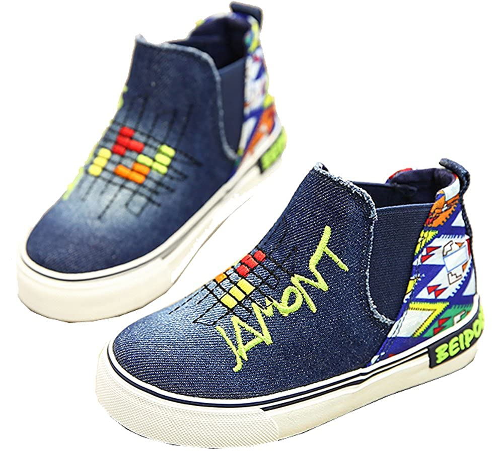 Toddler//Little Kid//Big Kid VECJUNIA Boys and Girls High Top Graffiti Checkered Slip-On Canvas Loafers