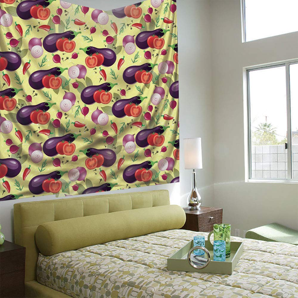 AngelSept Wall Tapestry Decorative Art Prints can be Hung on The Bedside of Dormitory,Eggplant,Eggplant Tomato Relish Onion Going Green Eating Organic Tasty Preserve Nature Decorative,Multicolor by AngelSept