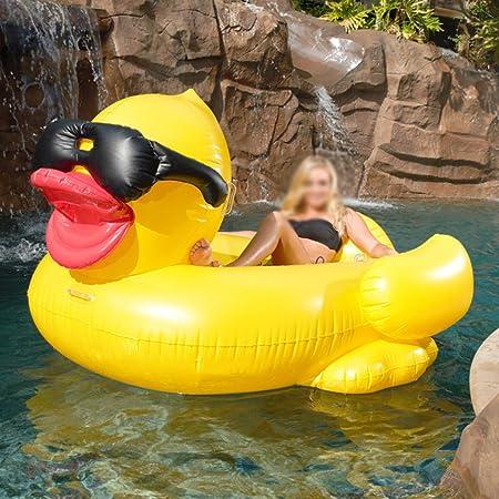 WLWWY Monturas De Pato Amarillo Inflable Gigante, Boya De Vida, Piscina Al Aire Libre Flotador De Flotador Cama De Juguete Con Válvulas Rápidas Para Adultos ...