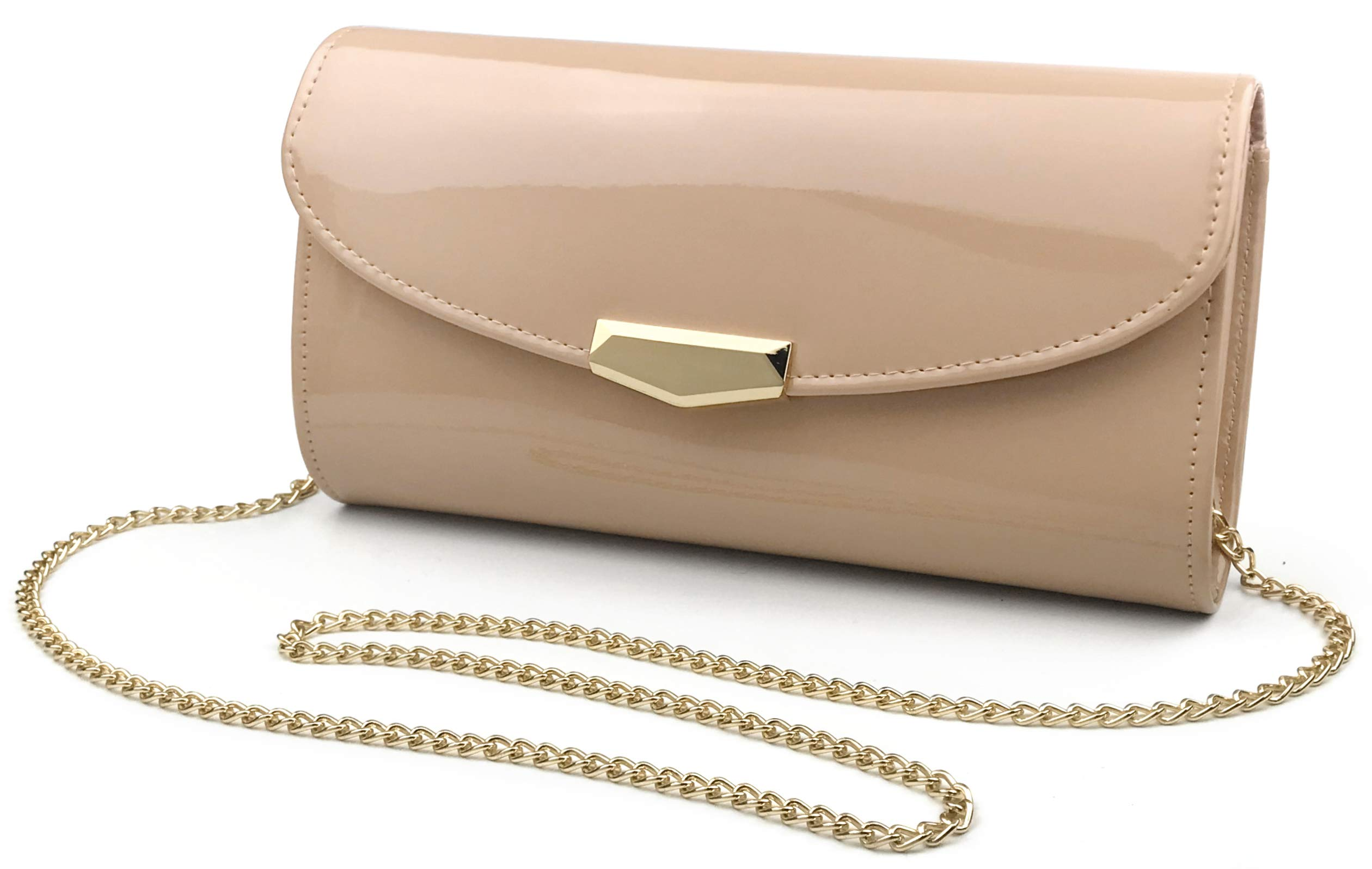 Women Glossy Evening Clutch Faux Patent Leather Chain Shoulder Bag Large Capacity Purse (Nude)