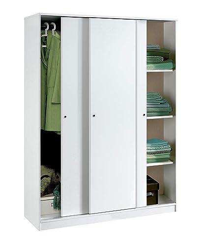 Armario Color Blanco Brillo Grande de 3 Puertas correderas, estantes Regulables, Barra Interior incluida de Dormitorio. 200cm Alto x 150cm Ancho x ...