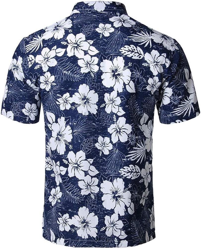 9,XXL Mens Hawaiian Printed Shirt Mens Summer Beach Short Sleeve Floral Shirts