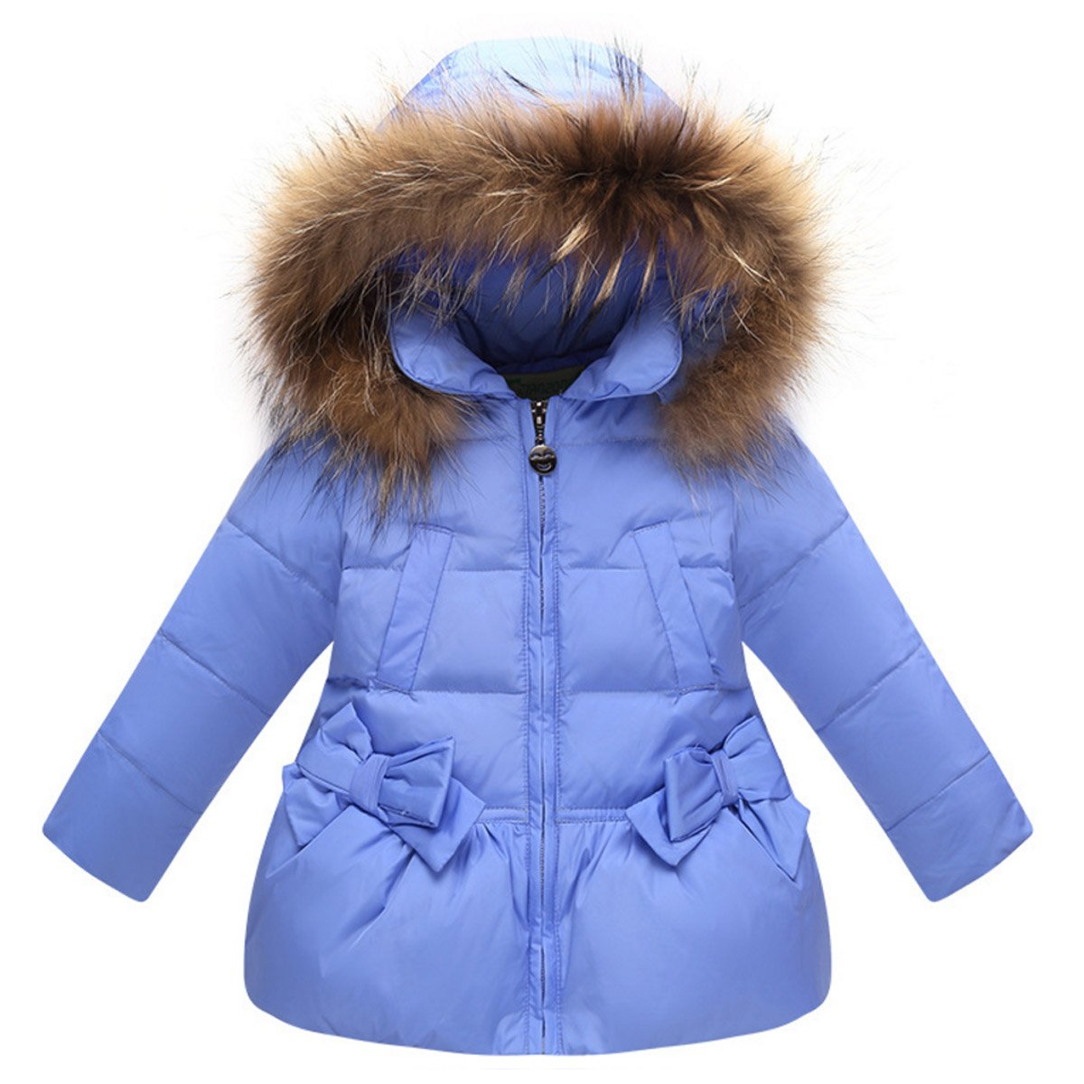 Girls Winter Down Coat Fur Trim Hooded Puffer Jacket with Bowknot Pockets Happy Cherry