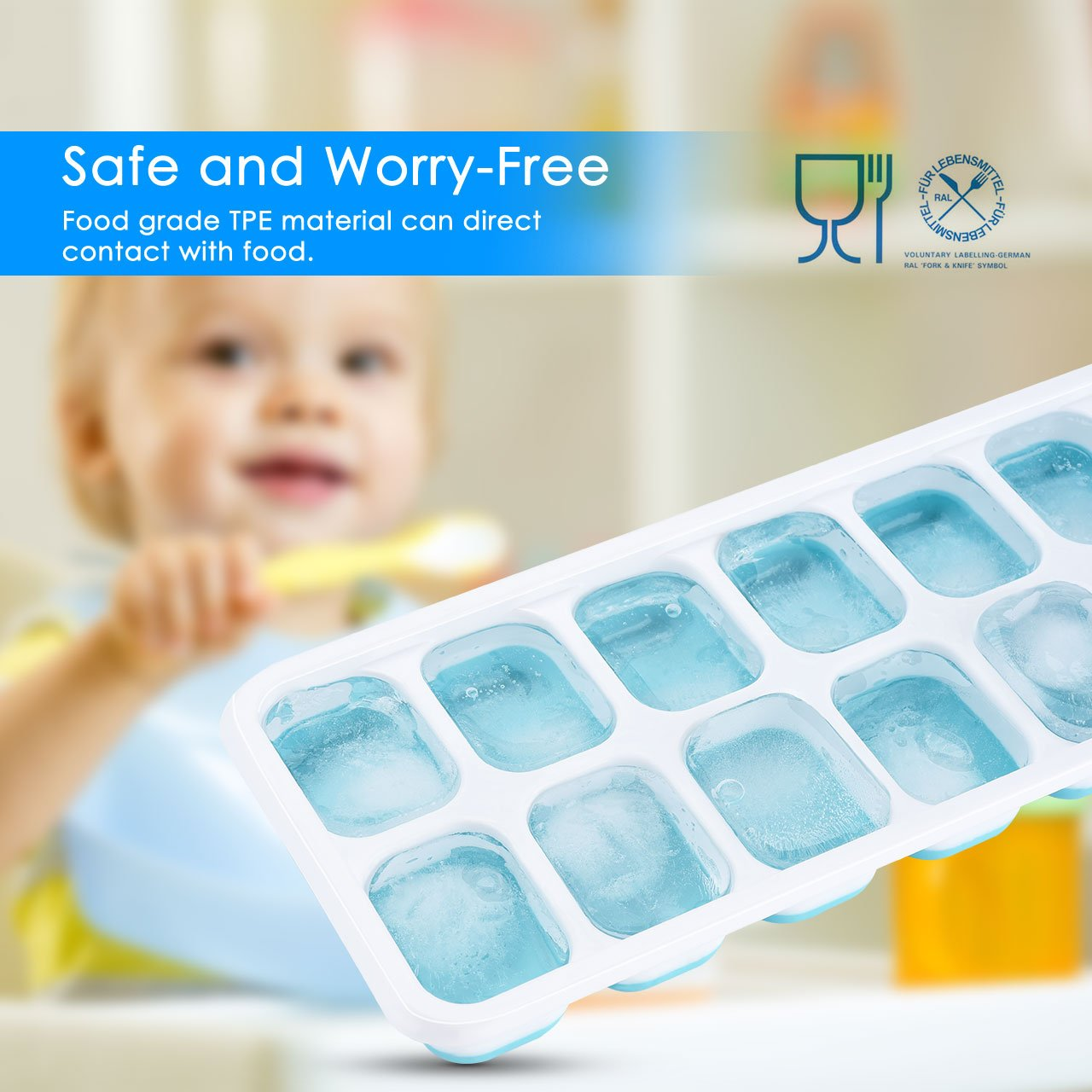 OMorc Ice Cube Trays 4 Pack, Easy-Release Silicone and Flexible 14-Ice Trays with Spill-Resistant Removable Lid, LFGB Certified & BPA Free, Stackable by OMORC (Image #3)