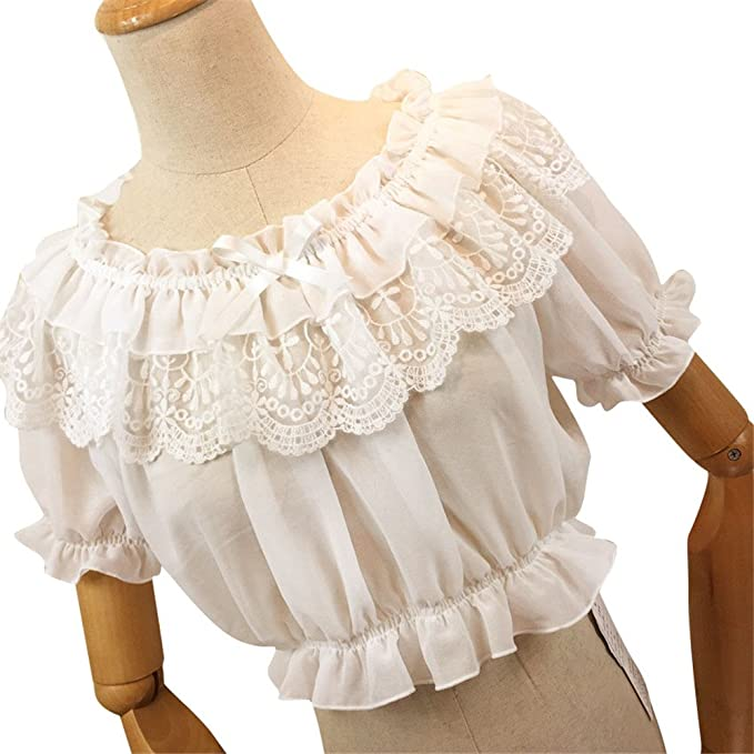 1940s Blouses and Tops TanQiang Women Lolita Frilly Chiffon Crop Top Blouse Puff Short Sleeve Lace Bottoming Shirt $25.68 AT vintagedancer.com