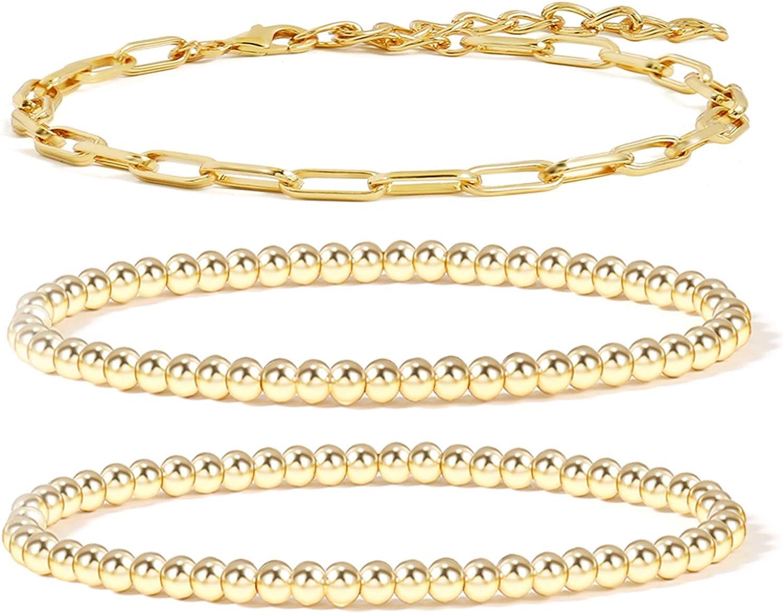 Anklet Dainty Gold Bracelet Minimalist Jewelry Chain Bracelet Beaded Bracelet Chain /& Link Bracelet Dainty Bracelet