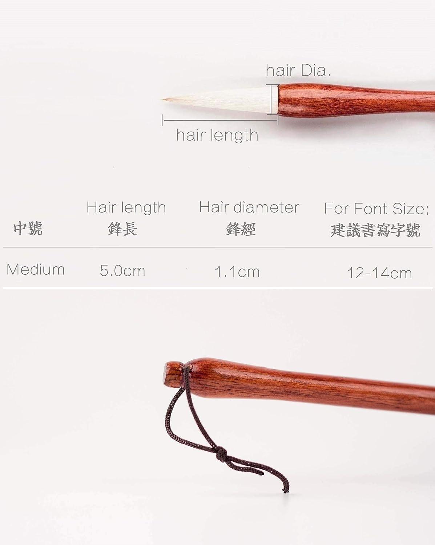 QingRen Medium 1pc Yang Jian Hao Chinese Calligraphy Brush Running Script//Xing shu Cursive//Cao Shu Qiming Wenfang QingRen Da Kai Chinese Brush Goat Hair Hu Brush for Big Regular Script//KaiShu