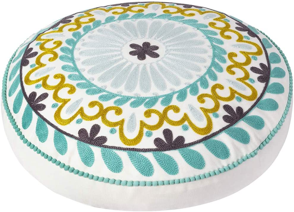 Colorful Bohemian Embroidered Round Floor Cushion, Modern Home Décor Pillow for Meditation, Yoga, and Boho Chic Seating Area Floor Pillow – Accent Your Living Room, Bedroom (18 inch Approx): Home & Kitchen