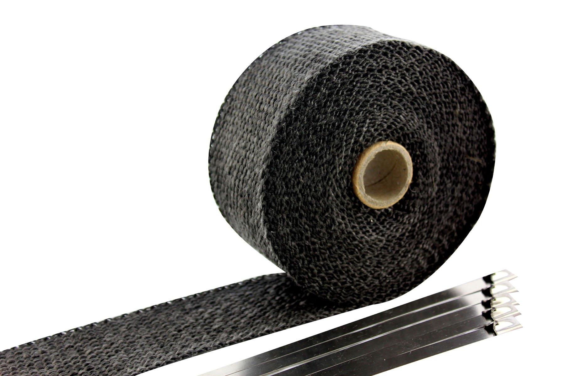SWI Parts 2'' x15ft Roll Black Racing Fiberglass Exhaust Header Pipe Wrap Tape W/5 Stainless Steel Zip Ties by SWI