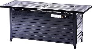 57 Inch 50000BTU Extruded Aluminum Outdoor Gas Propane Fire Pit Table Retangular ETL Certification