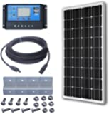 ECO-WORTHY 12 Volt 100 Watt Monocrystalline Solar Panel Kit: 1pc 100W Mono Solar Panel + 20A PWM LCD Display Solar Controller Regulator + 50ft Solar Cable with MC4 Connectors + Z Mounting Brackets