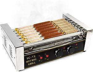 Biltek Hot Dog Grill Roller Commercial 18 Hotdog Maker Warmer Cooker Machine 7-Rollers
