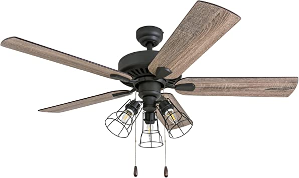 Amazon Com Prominence Home 50586 01 Inland Seas Farmhouse Ceiling Fan 52 Barnwood Tumbleweed Aged Bronze Home Improvement