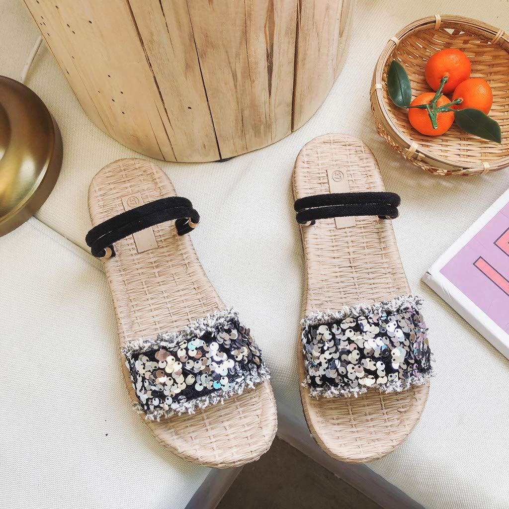 Swiusd Womens Retro Sequin Glitter Flat Sandals Comfy Slippers Flip Flops Weaved Bottom Straps Beach Dress Shoes Clearance