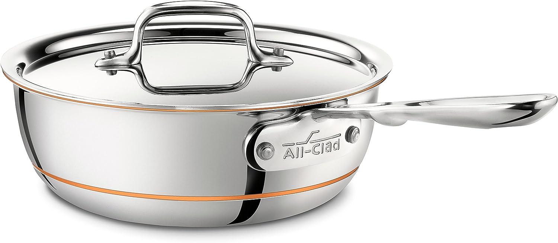 B00005AL1J All-Clad 6212 SS Copper Core Stainless Steel Saucier Pan Cookware, 2-Quart, Copper 71lgwBXXefL.SL1500_