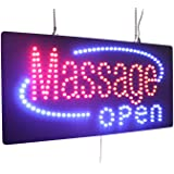 Massage Open Sign, TOPKING Signage, LED Neon Open, Store, Window, Shop, Business, Display, Grand Opening Gift