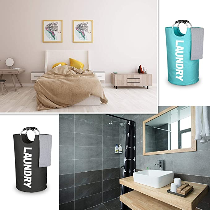 kekai Cesta de lavandería Plegable 5 Colores, Bolsa de lavandería de Tela Grande, cesto de lavandería Plegable, contenedor de lavandería emergente, ...